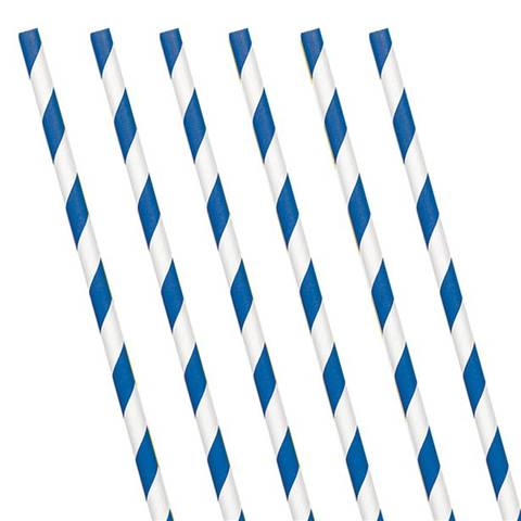 Bilde av Papirsugerør Royal Blå Stripete 24stk