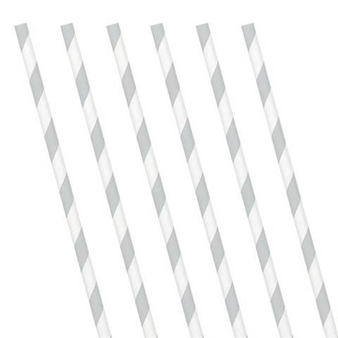 Bilde av Papirsugerør Sølv Stripete24stk