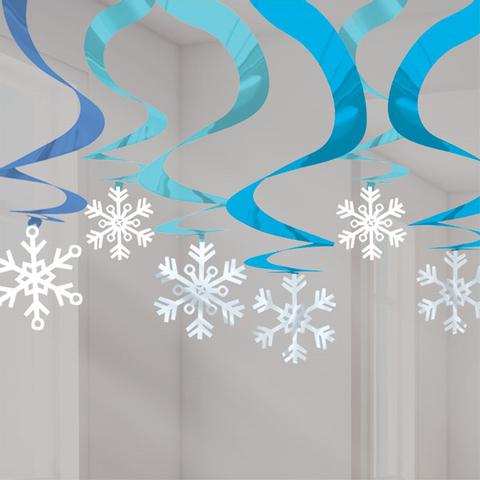 Bilde av Julepynt Snøfnugg Hengende Dekorasjon m/Blå Svirvel 15stk