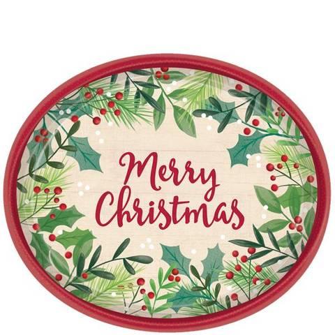 Bilde av Merry Christmas Ovale Papptallerkner 30cm 8stk