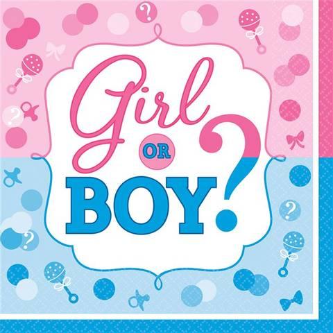 Bilde av Gender Reveal Servietter 33cm 16stk