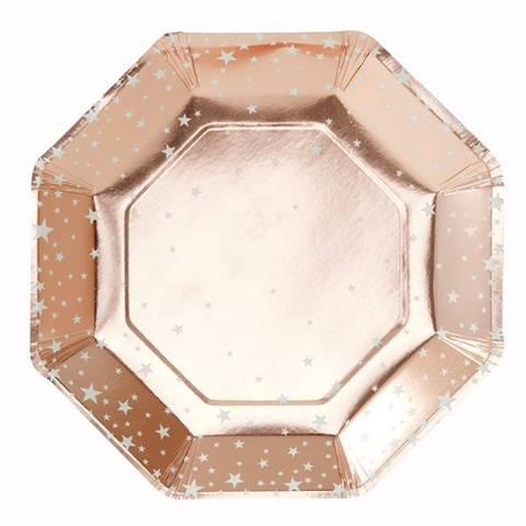 Bilde av Rose Gold Metallic Star Papptallerkner 23cm 8stk