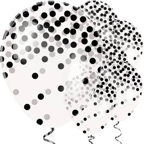Bilde av  Konfetti Ballonger Sorte Dots Latex 27cm 6stk