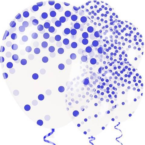 Bilde av  Konfetti Ballonger Blå Dots Latex 27cm 6stk