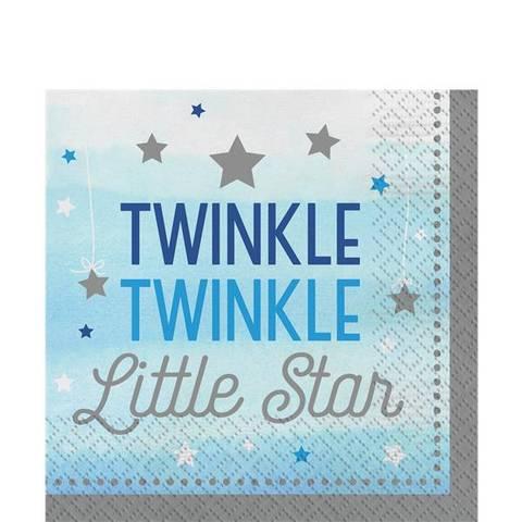 Bilde av Twinkle One Little Star Servietter Blå 33cm 16stk