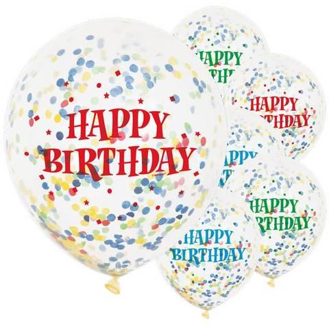 Bilde av Konfetti Ballonger Happy Birthday Latex 30cm 6stk