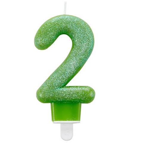 Bilde av Kakelys 2 År Grønn Glitter Lys 7,5cm