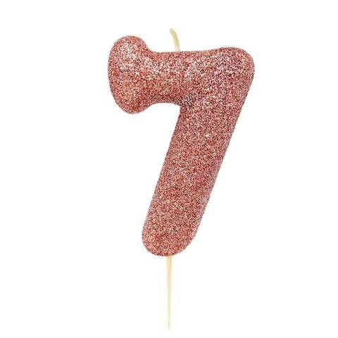 Bilde av Kakelys Nummer 7 Rose Gull 7cm