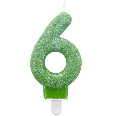 Bilde av Kakelys 6 År Grønn Glitter Lys 7,5cm