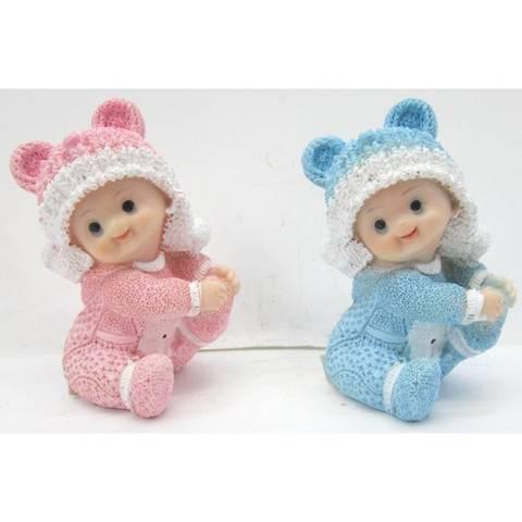 Bilde av Baby Sittende Gutt/Pike 5,8x4,8x7,8cm Rosa/Blå