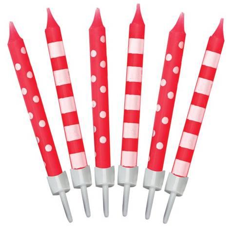 Bilde av Bursdagslys Røde med Prikker og Striper 6cm 12stk.