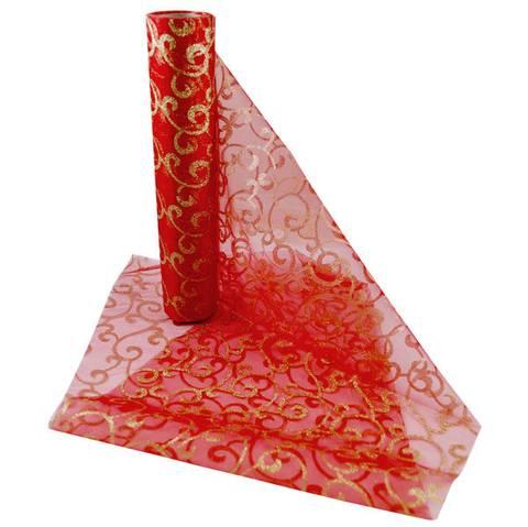 Bilde av Organza Løper Gull og Rød Mønstret 10m