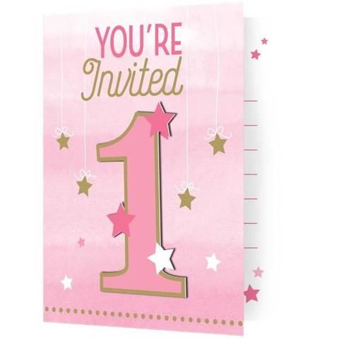 Bilde av Twinkle One Little Star Rosa Invitasjoner 8stk