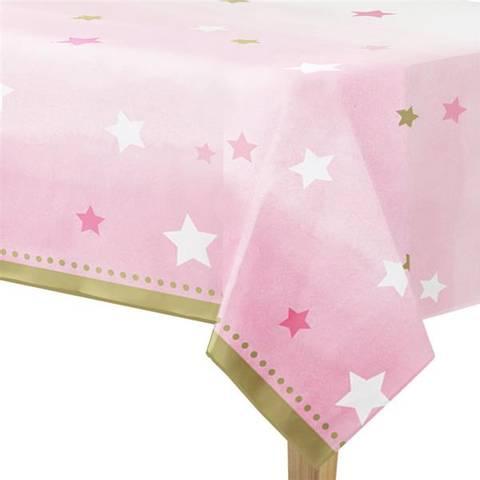 Bilde av Twinkle One Little Star Rosa Plastikkduk 1.4m x 2.6m