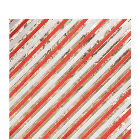 Bilde av Merry & Bright Gull/Rød Stripete Servietter 33cm 20stk
