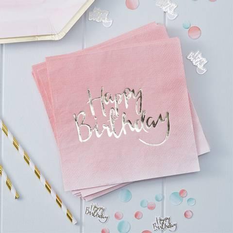 Bilde av Servietter Lunsj Ombre Pick & Mix Happy Birthday 33cm 20stk