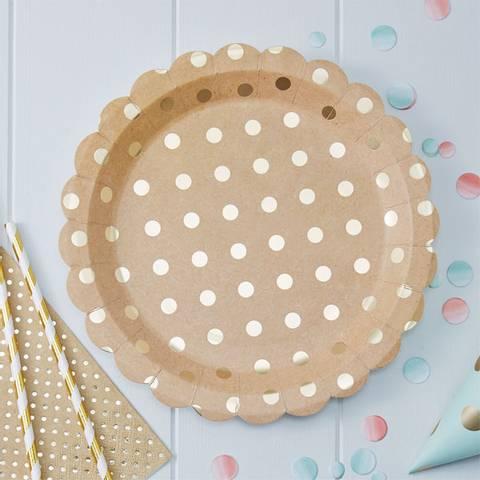 Bilde av Pick & Mix Sølv Polka Dot Papptallerkner 23cm 8stk