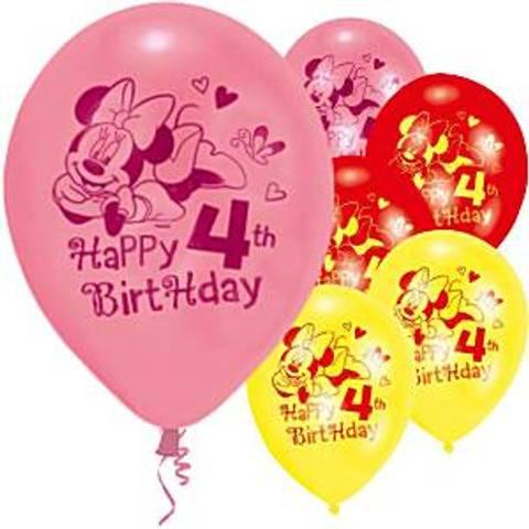 Bilde av Minnie Mus Bursdag Ballonger Latex 4 År 23 cm 6stk