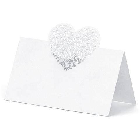 Bilde av  Bordkort Hvite Hjerte 10stk