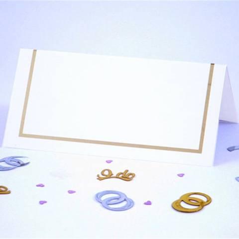 Bilde av Bordkort Enkle Hvite Gull 50stk