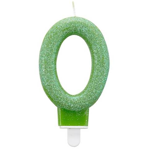 Bilde av Kakelys 0 År Grønn Glitter 7,5cm