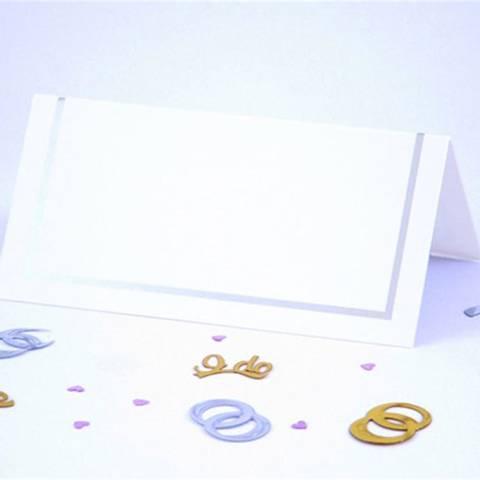 Bilde av Bordkort Enkle Hvite Sølv 50stk