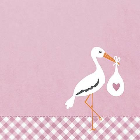 Bilde av Serviettter Baby Love Stork Rosa 33cm 20stk