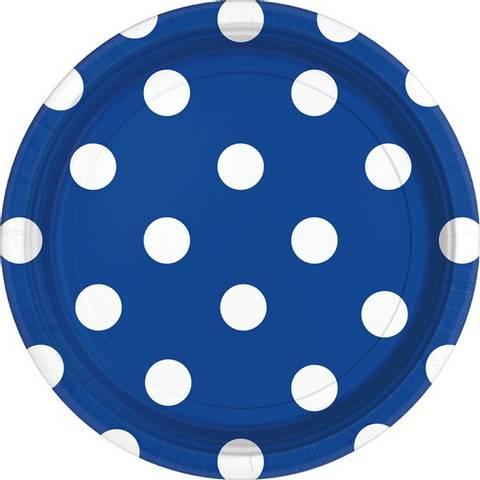 Bilde av Papptallerkner Royal Blå Polka Dot 23cm 8stk