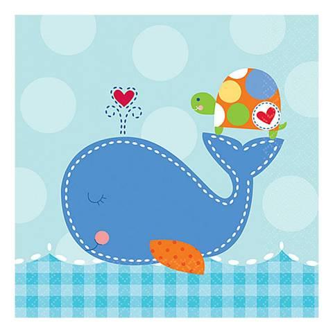 Bilde av Servietter Ahoy Baby Blue 25cm 16pk