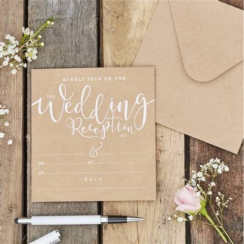 Bilde av Invitasjoner Bryllup Rustic 10stk