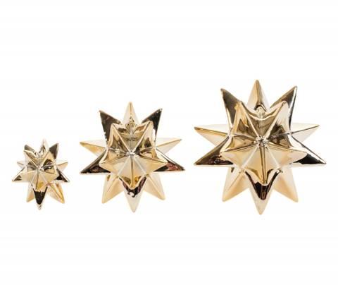 Bilde av Lysestake Stjerne 3D 6,2 x 6,5cm Gull 1stk