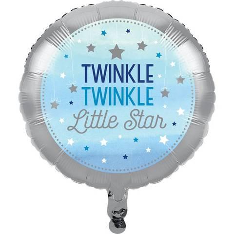 Bilde av  Twinkle One Little Star Blå Folie Ballong 44cm