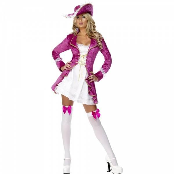 Rosa pirat kostyme m. hatt