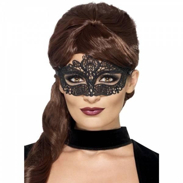 Svart Filigree maske