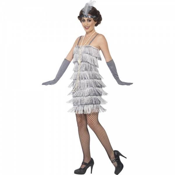 Flapper kostyme sølv