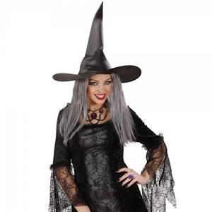 Bilde av Svart heksehatt med hår.