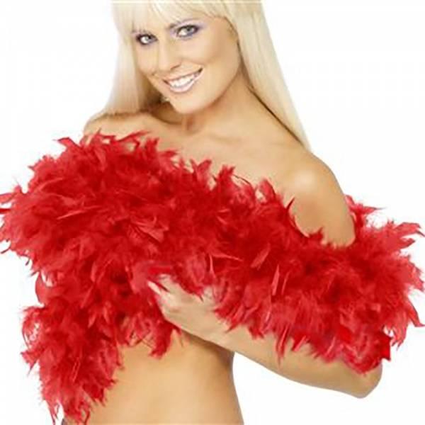 Fjærboa Deluxe rød