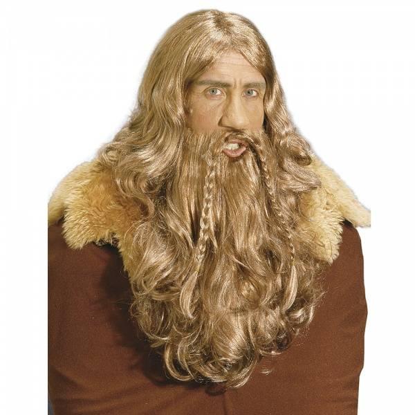 Viking parykk, bart og skjegg