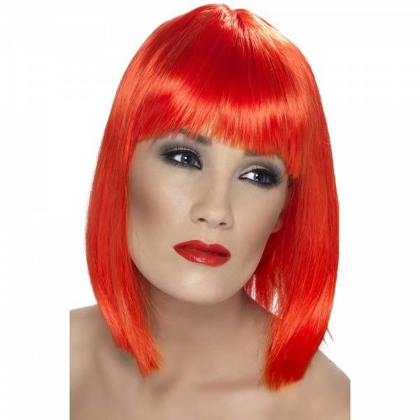 Glam rød parykk