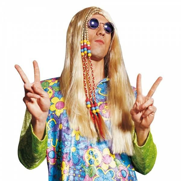 Blond Hippie parykk m. perler