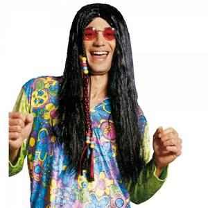 Bilde av Sort Hippie parykk m. perler