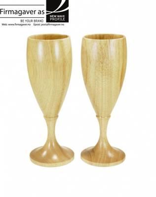 Vin champagneglass 2pk i tre med inngravering