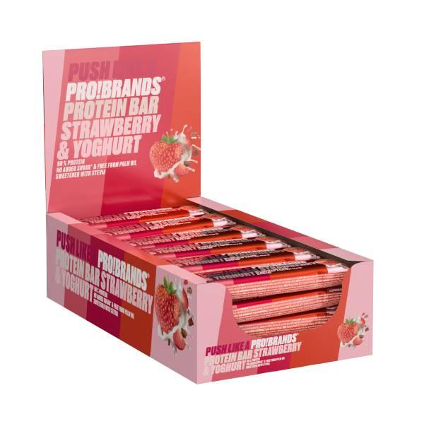 Bilde av ProteinPro Bar 45g x 24stk - Strawberry/Yoghurt - (BF: 06.2021)