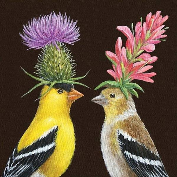 Servietter Goldfinch couple