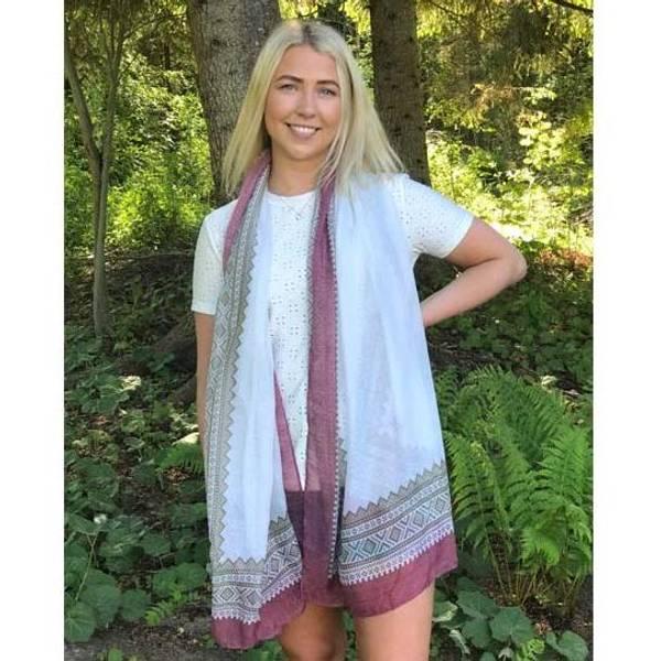 Image of Marius® scarf, white/green/ burgundy