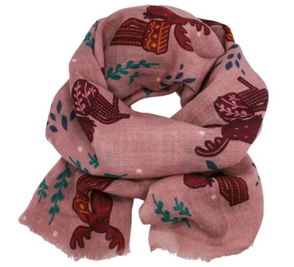 Image of Wool scarf  playful moose pink