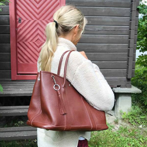 Image of Large hand bag, mooseskinn with silver, Jopo