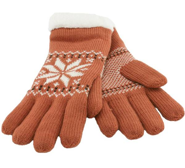 Image of Knitted gloves with star pattern brown/white