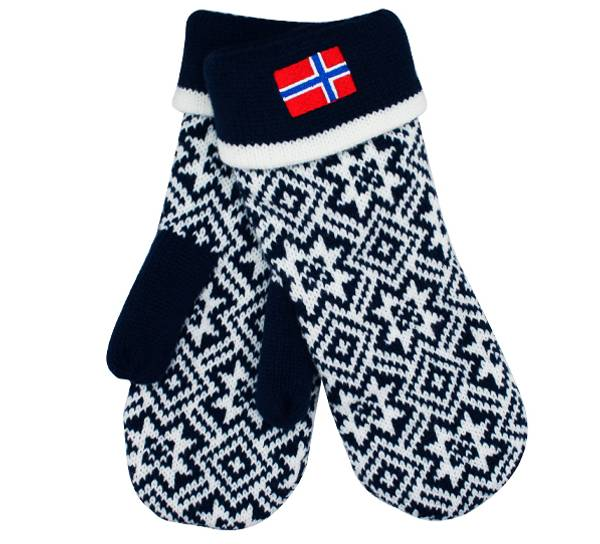 Image of Knitted mittens with flag blue/white
