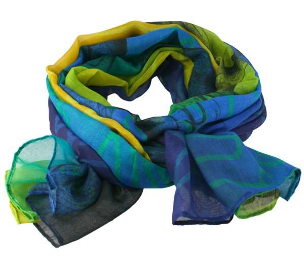 Image of Scarf, Viking pattern, blue/ yellow